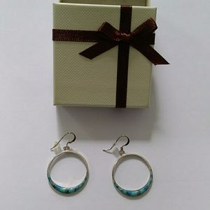 Turquoise Inlay S.S. Hoop Earrings
